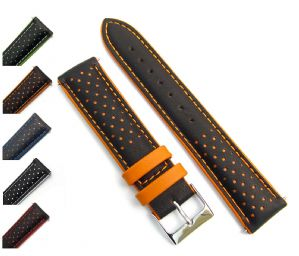 Genoa Padded Leather Layered 2-Colour Watch Strap 18mm 20mm 22mm D005